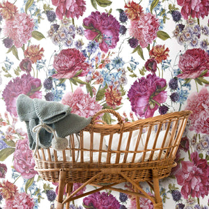 Custom Light Peonies Floral Wallpaper