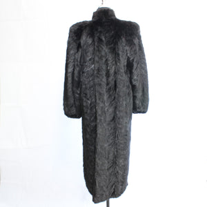 DYED BLACK PATCHWORK MINK COAT