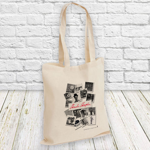 Charlie Chaplin Photo Montage Tote Bag (Lifestyle)