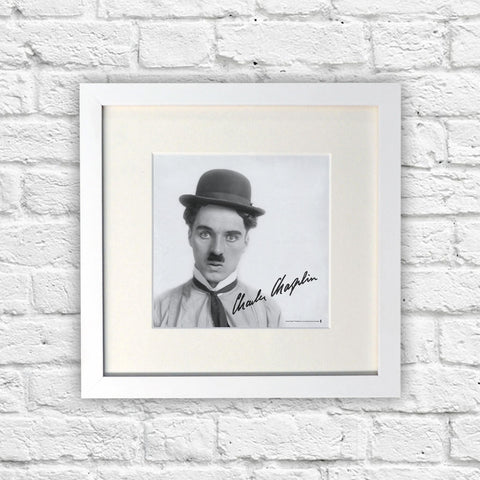 Charlie Chaplin Classic Signature White Framed Print (Lifestyle)
