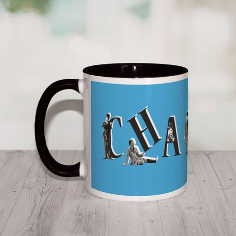 Charlie Chaplin Blue Coloured Insert Mug (Lifestyle)