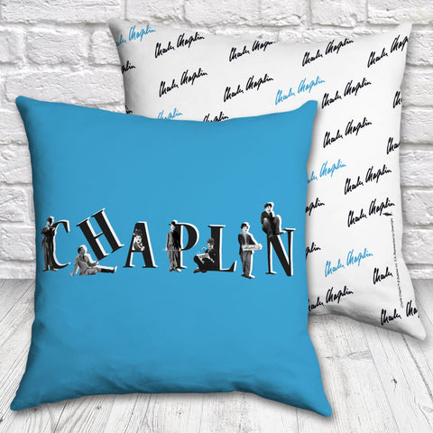 Charlie Chaplin Blue Cushion (Lifestyle)