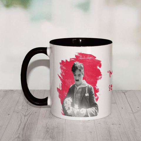 Charlie Chaplin Making Fun Is Serious Business Coloured Insert Mug (Lifestyle)