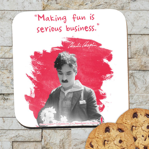 Charlie Chaplin Making Fun Is Serious Business Coaster (Lifestyle)