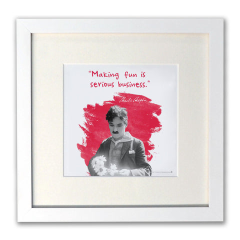 Charlie Chaplin Making Fun Is Serious Business White Framed Print