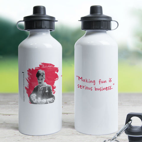 Charlie Chaplin Making Fun Is Serious Business Water Bottle (Lifestyle)