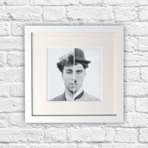 Charlie Chaplin Cinematic Icon White Framed Print (Lifestyle)