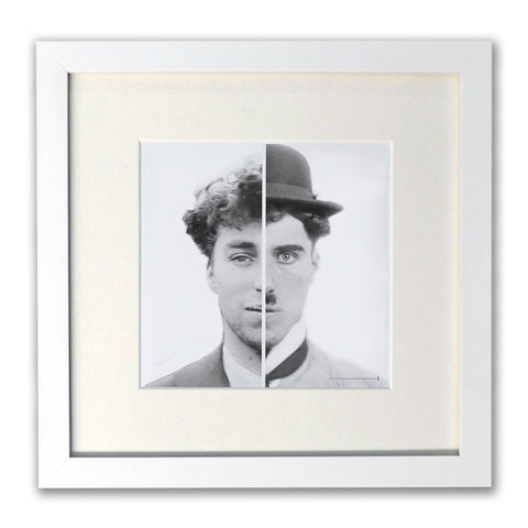 Charlie Chaplin Cinematic Icon White Framed Print