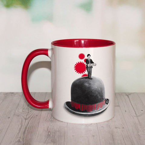 Charlie Chaplin Red Cogs Coloured Insert Mug (Lifestyle)