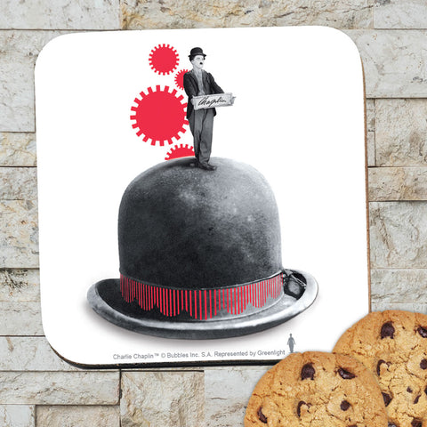 Charlie Chaplin Red Cogs Coaster (Lifestyle)