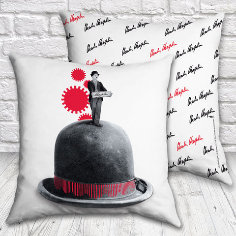 Charlie Chaplin Red Cogs Cushion (Lifestyle)