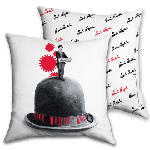 Charlie Chaplin Red Cogs Cushion