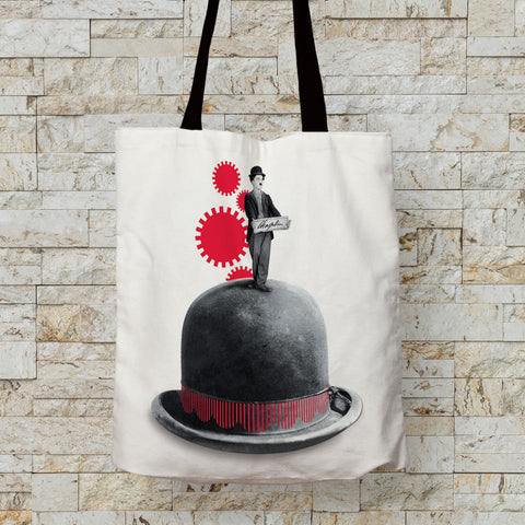 Charlie Chaplin Red Cogs Premium Tote (Lifestyle)