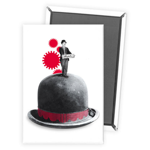 Charlie Chaplin Red Cogs Magnet