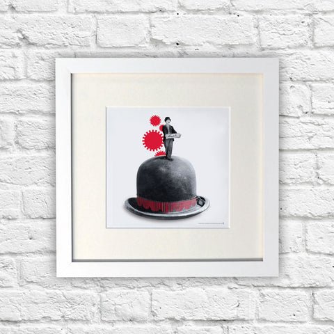 Charlie Chaplin Red Cogs White Framed Print (Lifestyle)