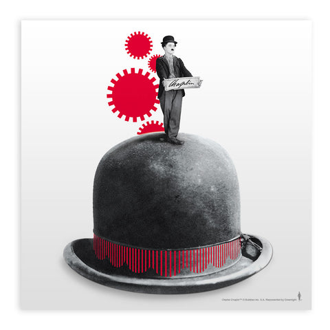 Charlie Chaplin Red Cogs Mounted Art Print
