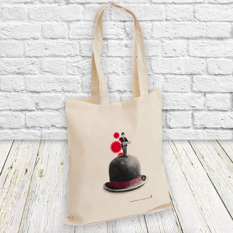 Charlie Chaplin Red Cogs Tote Bag (Lifestyle)