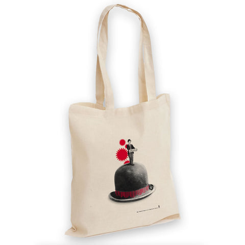 Charlie Chaplin Red Cogs Tote Bag