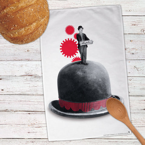 Charlie Chaplin Red Cogs Tea Towel (Lifestyle)