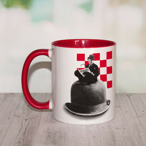 Charlie Chaplin Checkered Coloured Insert Mug (Lifestyle)