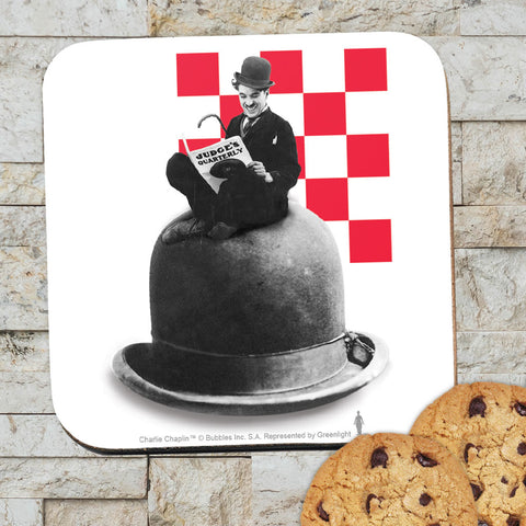 Charlie Chaplin Checkered Coaster (Lifestyle)