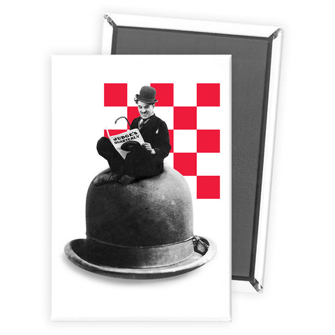 Charlie Chaplin Checkered Magnet
