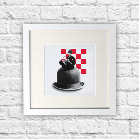 Charlie Chaplin Checkered White Framed Print (Lifestyle)