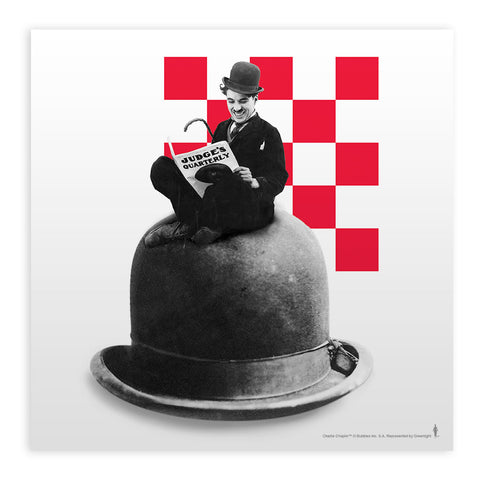 Charlie Chaplin Checkered Mounted Art Print