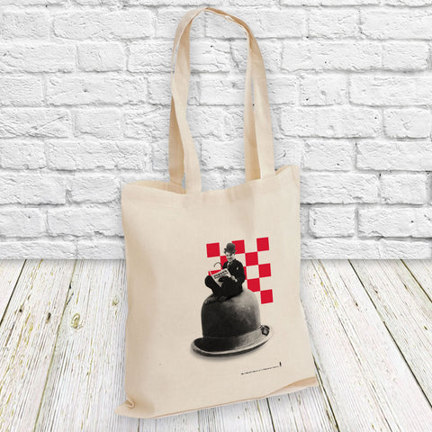 Charlie Chaplin Checkered Tote Bag (Lifestyle)