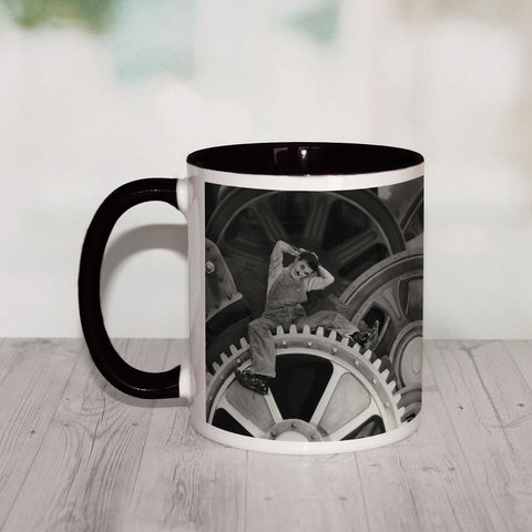 Charlie Chaplin Cogs Coloured Insert Mug (Lifestyle)
