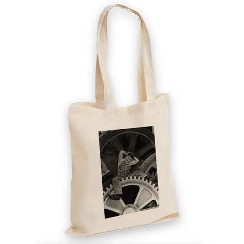 Charlie Chaplin Cogs Tote Bag