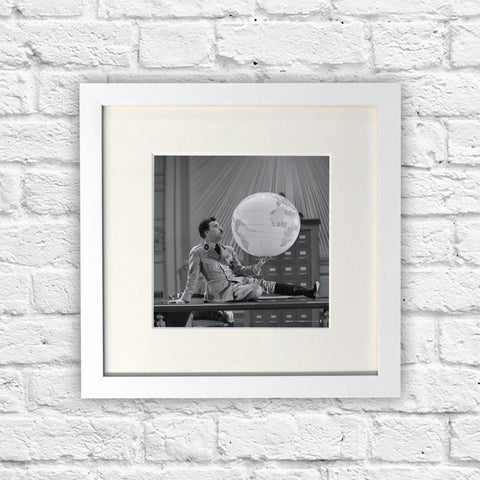 Charlie Chaplin The World White Framed Print (Lifestyle)