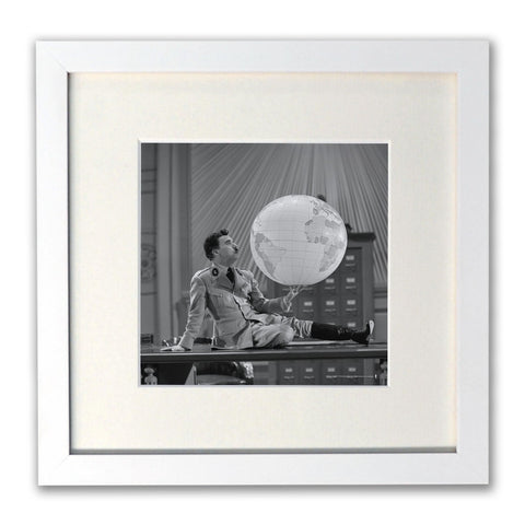 Charlie Chaplin The World White Framed Print