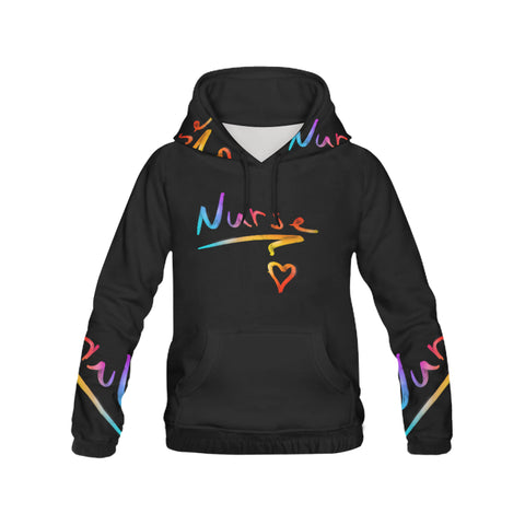 Colorful Nurse Text on Black Hoodie
