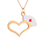 Nurse Hat And Heart Necklace Pendants