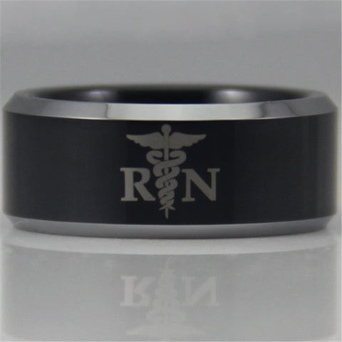 Registered Nurse Design New Black Tungsten Ring
