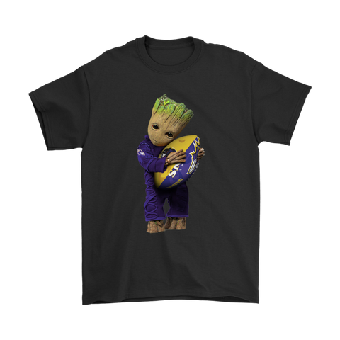 3D Groot I Love Baltimore Ravens NFL Football Shirts S / Black / Men T-Shirt - Catsolo.com