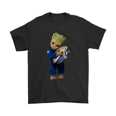 3D Groot I Love Los Angeles Rams NFL Football Shirts S / Black / Men T-Shirt - Catsolo.com