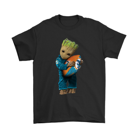 3D Groot I Love Miami Dolphins NFL Football Shirts S / Black / Men T-Shirt - Catsolo.com
