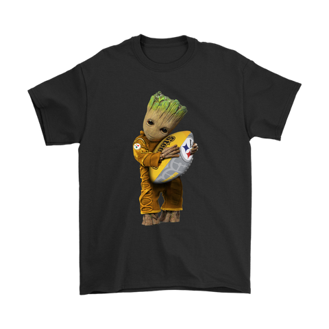 3D Groot I Love Pittsburgh Steelers NFL Football Shirts S / Black / Men T-Shirt - Catsolo.com