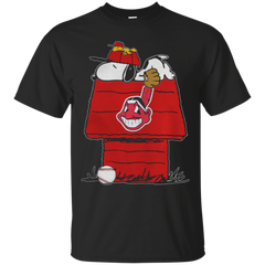 Baseball Snoopy house CLEVELAND INDIANS T shirt T-Shirts T-Shirt - Catsolo.com