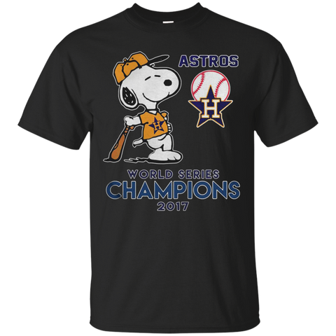 Astros Snoopy world series champions 2017 T shirt T-Shirts S / Black / G200 Gildan Ultra Cotton T-Shirt T-Shirt - Catsolo.com