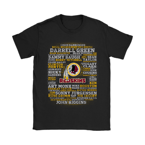 American Football All Players Team Washington Redskins Shirts Women S / Black / Women T-Shirt - Catsolo.com