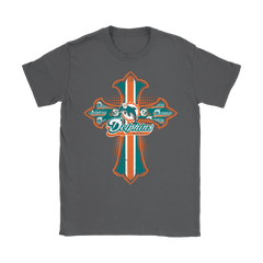 American Football Blue Crusader Cross Miami Dolphins NFL Shirts Women T-Shirt - Catsolo.com