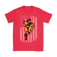 American Football Captain America Washington Redskins Shirts Women T-Shirt - Catsolo.com
