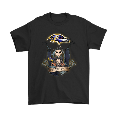 Baltimore Ravens Jack Skellington This Is Halloween NFL Shirts S / Black / Men T-Shirt - Catsolo.com
