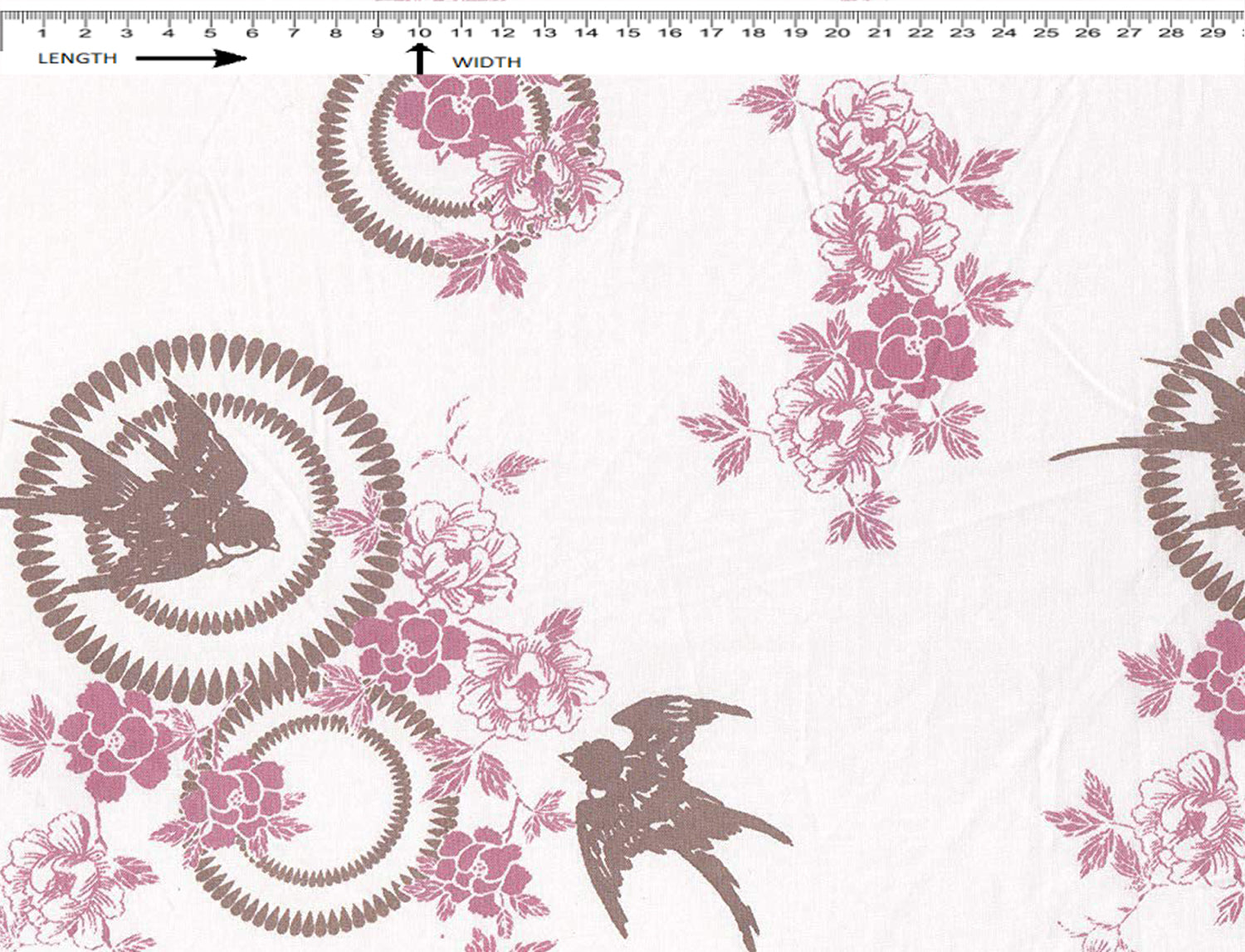 Bird Print { White - Cherry Pink - Oak Brown }  (Cambric)
