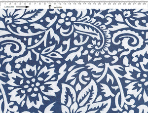 TRADITIONAL ORNAMENT PRINT { WHITE-WOAD BLUE }  (Cambric)