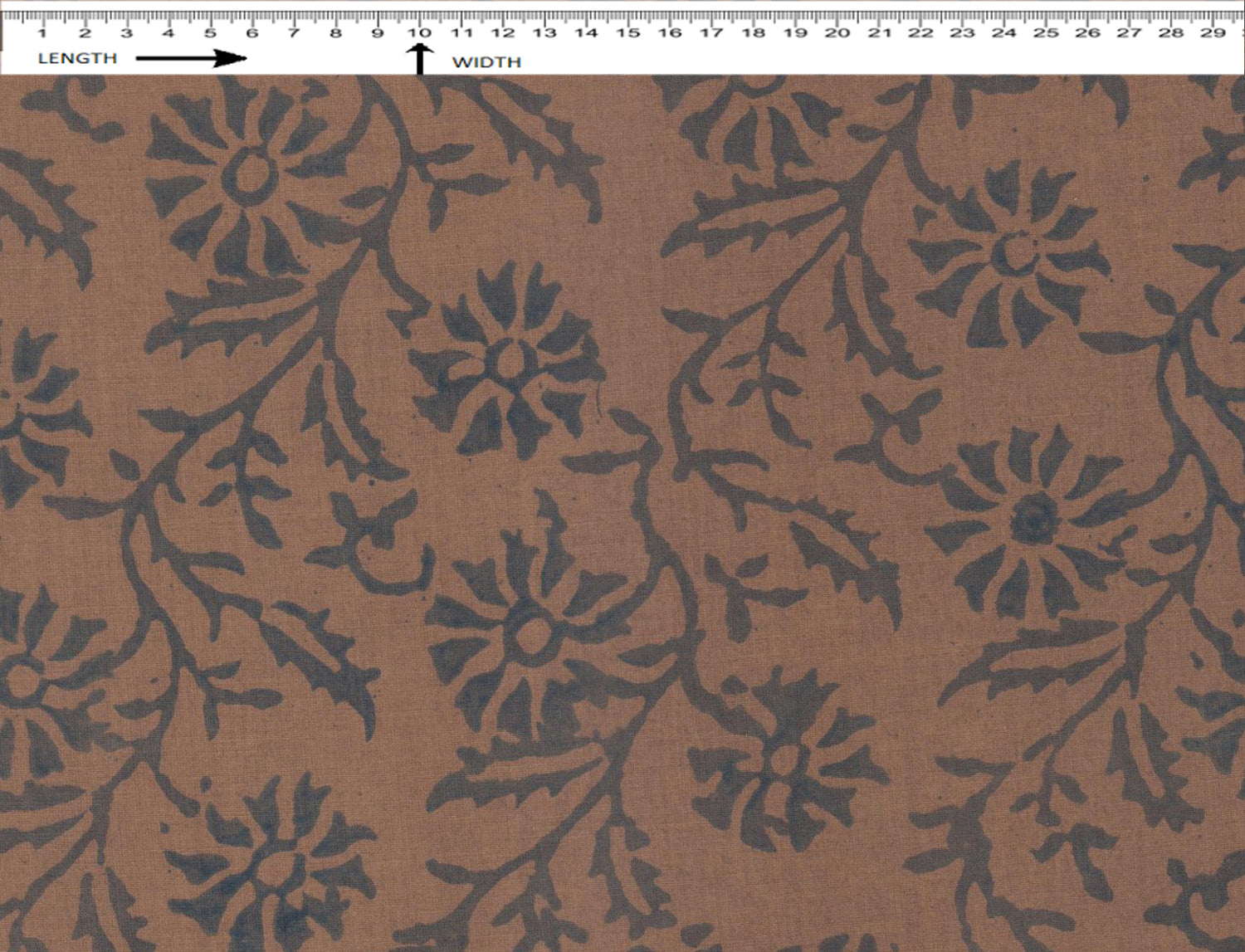 CAT MINT BLOCK PRINT { OAK BROWN-BLUE }  (Cambric)