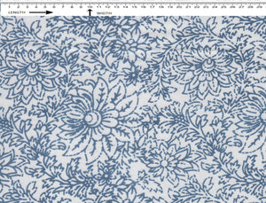 FLORAL PRINT { WHITE-BLUE }  (Cambric)